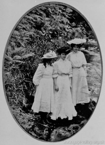 Ladies in the formal garden. c.1910.