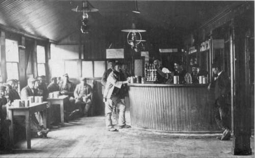 Navvies in temporary pub